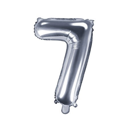 Small Silver Foil Number Seven Balloons 14 Inches  I My Dream Party Shop I UK