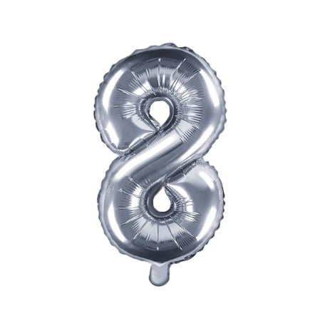 Small Silver Foil Number Eight Balloons 14 Inches I My Dream Party Shop I UK