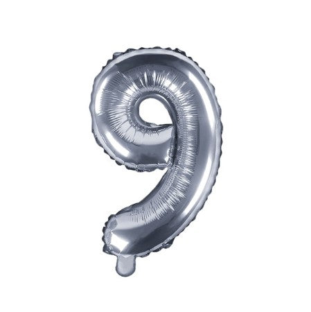 Small Silver Foil Number Nine Balloons 14 Inches I My Dream Party Shop I UK