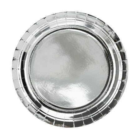 Large Round Silver Foil Plates I Modern Silver Party Tableware I My Dream Party Shop I UK