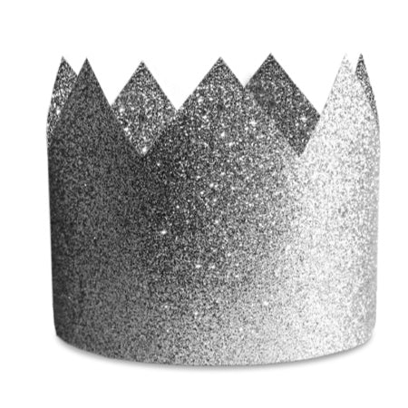Silver Sparkly Crown Party Hat, Set of 8 - Glitter Crown - My Dream Party Shop