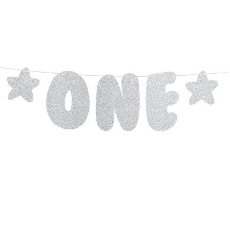 One Silver Glittery First Birthday Banner I My Dream Party Shop I UK