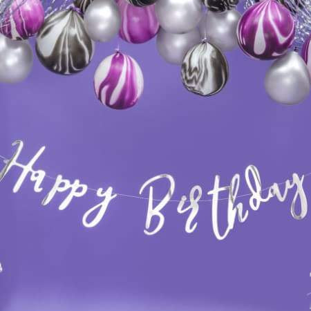 Silver Happy Birthday Garland I Modern Silver Party Supplies I UK