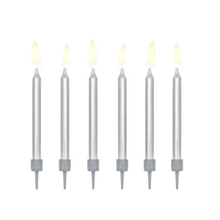 Metallic Silver Candles Set of 6 I Modern Candles and Cake Toppers I My Dream Party Shop UK