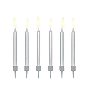 Metallic Silver Candles Set of 6 I My Dream Party Shop I UK