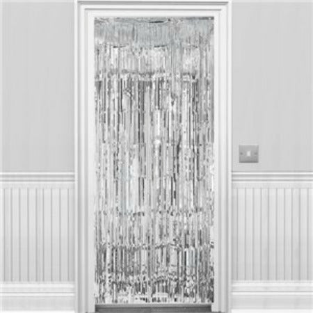 Silver Metallic Fringed Door Curtain - 2.4m - My Dream Party Shop