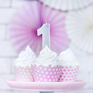 Silver Glittery Birthday Candle Numbers