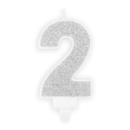 Silver Number Candles I Modern Cake Decorations I My Dream Party Shop UK