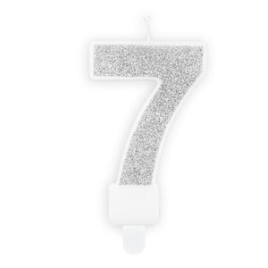 Silver Glittery Birthday Candle Numbers I My Dream Party Shop I UK