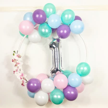 Pastel and Silver Balloon Hoop Kit I Modern Balloon Decorations I UK