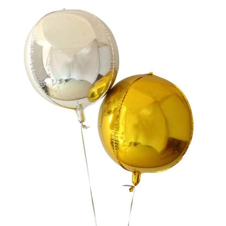 Medium Silver Round Orb 4D Foil Balloon I Stunning Balloon Decorations I My Dream Party Shop I UK