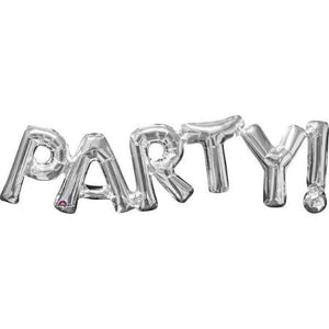 """Party!"" Giant Silver Foil Phrase Balloon Bunting I My Dream Party Shop I UK"