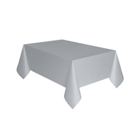 Silver Rectangular Plastic Tablecover I My Dream Party Shop I UK