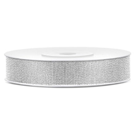 Silver Glitter Party Decoration Ribbon 25 Metres, 10mm Thick My Dream Party Shop