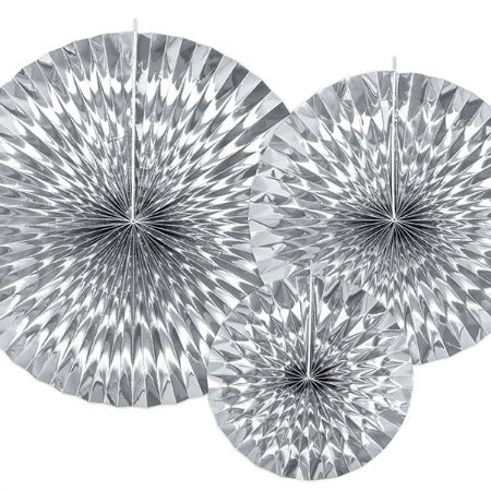 Silver Rosette Fans I Stunning Party Decorations I My Dream Party Shop I UK