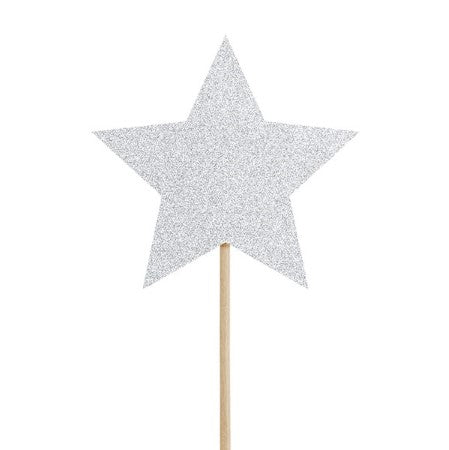 Star Silver Glitter Canapé or Cake Topper I Silver Tableware & Decorations I My Dream Party Shop I UK