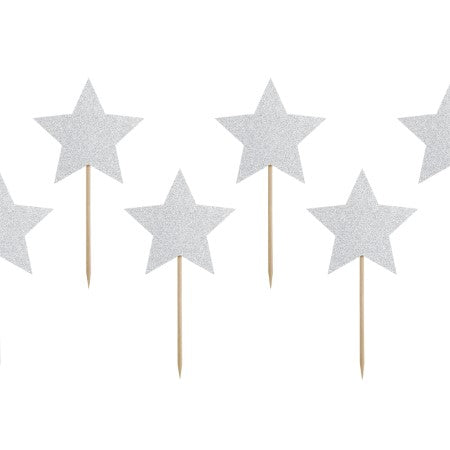 Star Silver Glittery Canapé or Cake Topper I My Dream Party Shop I UK