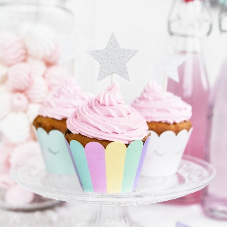 Star Silver Glitter Canapé or Cake Topper I My Dream Party Shop I UK