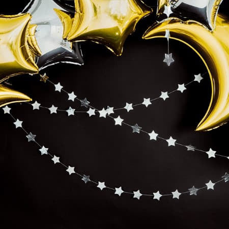 Silver Foil Star Bunting I Stunning Silver Decorations I My Dream Party Shop I UK