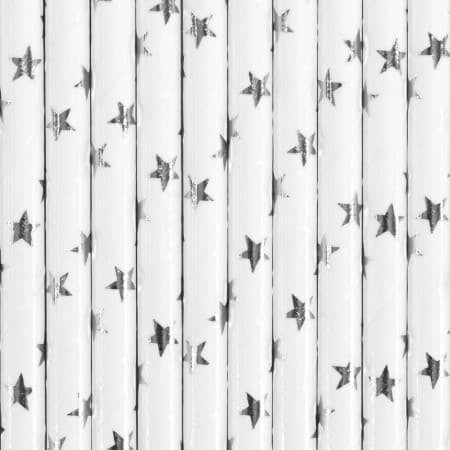 Silver Star Straws I Modern Silver Party Supplies I My Dream Party Shop I UK