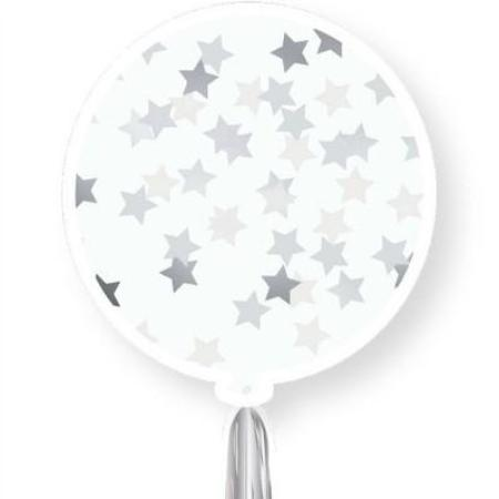 Silver Tassel Tail 3ft Star Confetti Latex Balloon Pack My Dream Party Shop