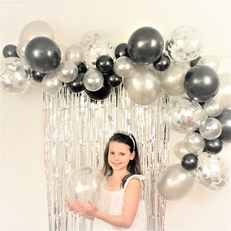 Black and Silver Balloon Cloud Party Decoration Kit I Balloon Garlands I My Dream Party Shop I UK