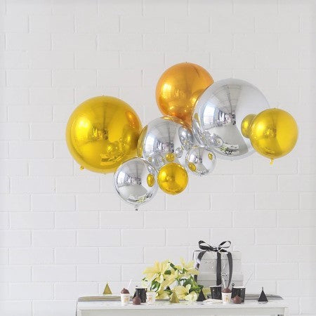 Medium Silver Orb 4D Foil Balloon I Stunning Balloon Decorations I My Dream Party Shop I UK