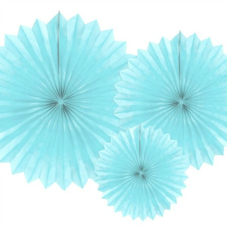 Pale Blue Rosette Fans Set of Three I Modern Party Decorations I My Dream Party Shop I UK