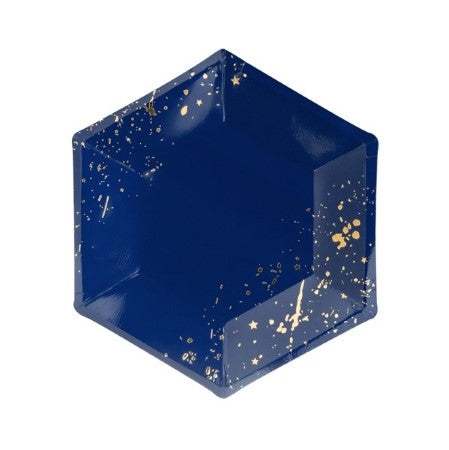 Small Navy Hexagonal Party Plates with Splattered Gold Pattern I My Dream Party Shop I UK