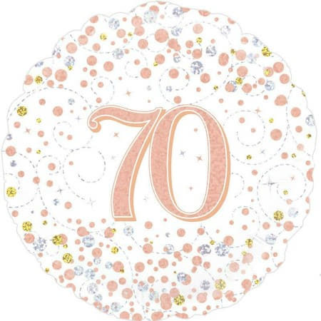 Sparkling Fizz 70th Birthday White and Rose Gold I 70th Birthday Party I My Dream Party Shop UK