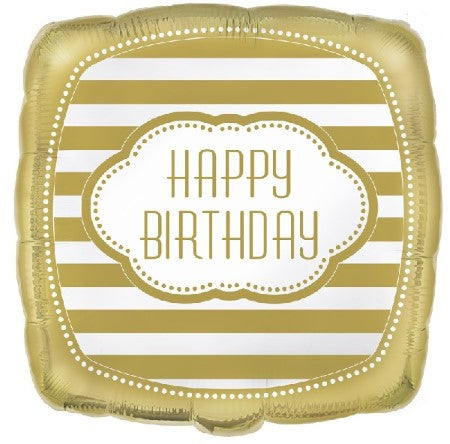 Square Gold Happy Birthday Balloon I Modern Birthday Balloons I My Dream Party Shop