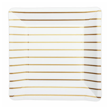 Square White Party Plates with Gold Stripes - My Dream Party Shop