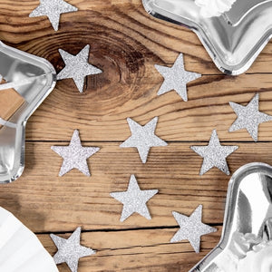 Silver Glittery Star Table Scatter Decorations - My Dream Party Shop
