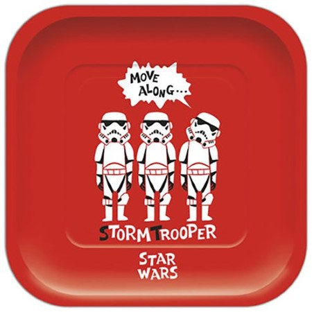 Star Wars Cartoon Storm trooper Large Red Square Plates I Star Wars Themed Cool Party Tableware & Decorations I My Dream Party Shop I UK
