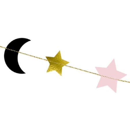 Moon and Stars Garland I Pink, Gold and Black Garland with Crescents and Stars I UK