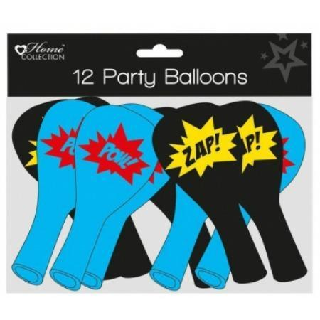 Retro Super Hero Balloons in Blue and Red and Black and Yellow I Cool Modern Super Hero Party Supplies and Decorations I My Dream Party Shop I UK