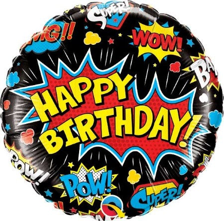 Happy Birthday Pop Art Superhero Balloon I Pop Art Super Hero Party I My Dream Party Shop UK