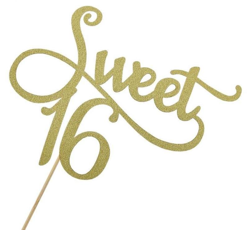 Gold Sparkly Sweet Sixteen Cake Topper I Sixteenth Birthday Party Decorations and Tableware I My Dream Party Shop I UK