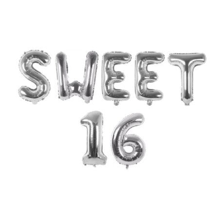 Sweet 16 Silver Foil Phrase Bunting Balloons I Sweet 16 Themed Birthday Party Decorations & Tableware I My Dream Party Shop I UK