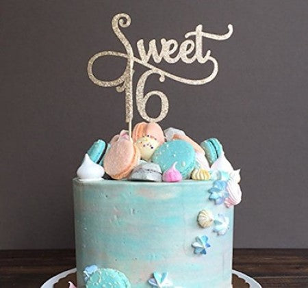 Gold Glittery Sweet Sixteen Cake Topper I Sixteenth Birthday Party Decorations and Tableware I My Dream Party Shop I UK