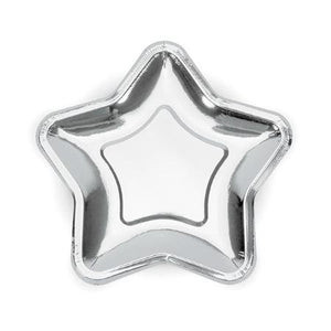 Silver Star Paper Plates 18 cm - My Dream Party Shop