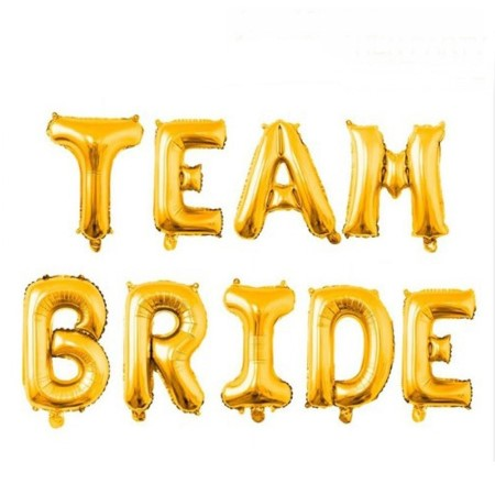 """Team Bride"" Giant Gold Letter Phrase Balloons I Cool Hen Party Balloons & Decorations I My Dream Party Shop I UK"