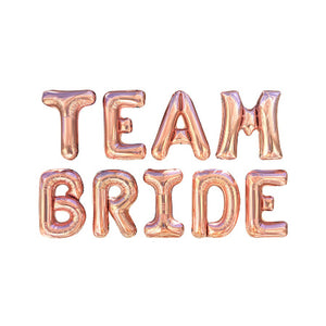 """Team Bride"" Giant Rose Gold Bunting Phrase Balloons I Rose Gold Hen Party Balloons & Decorations I My Dream Party Shop I UK"