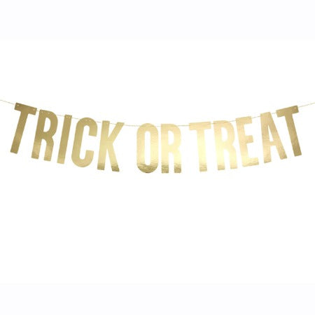 Gold Halloween Trick or Treat Garland I Modern Halloween Party Decorations UK