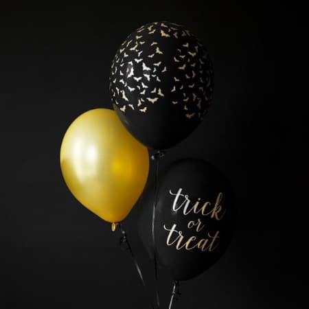 Trick or Treat Black and Gold Halloween Balloons I Modern Halloween Party Decorations I My Dream Party Shop I UK
