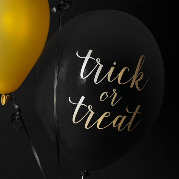 Trick or Treat Black and Gold Halloween Balloons I Modern Halloween Party Supplies I My Dream Party Shop I UK