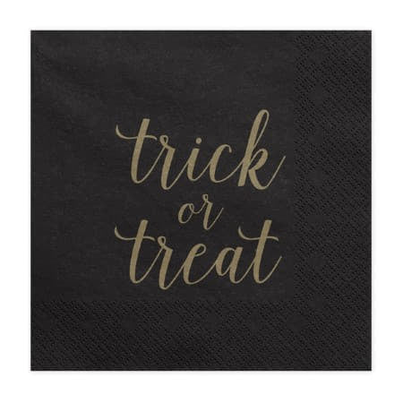Trick or Treat Black and Gold Foil Napkins I Cool Halloween Party Tableware I My Dream Party Shop I UK