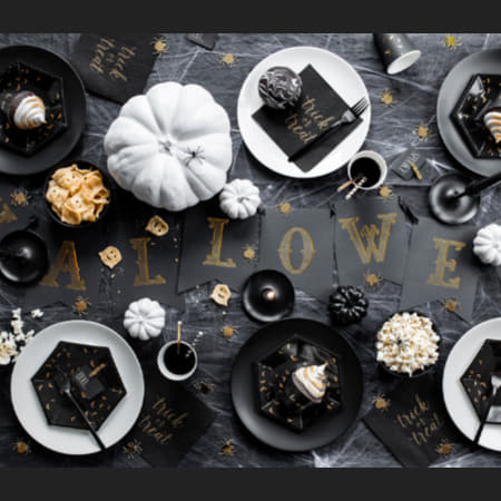 Trick or Treat Black and Gold Foil Napkins I Modern Halloween Party Tableware I My Dream Party Shop I UK