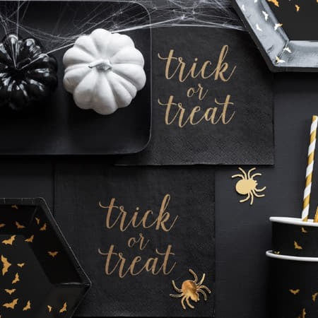 Trick or Treat Black and Gold Foil Napkins I Cool Halloween Party Supples I My Dream Party Shop I UK