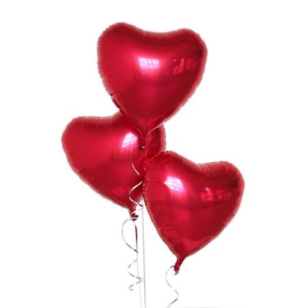 Three Red Heart Balloons I Helium Balloons for Collection Ruislip I My Dream Party Shop